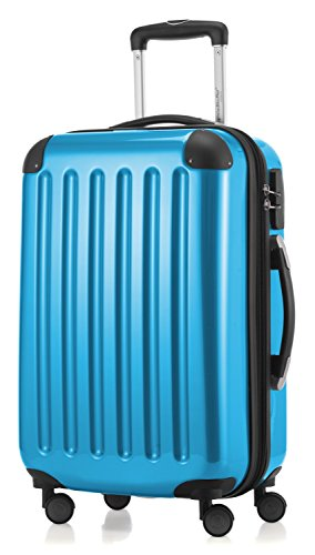 HAUPTSTADTKOFFER - Alex - Carry on luggage On-Board Suitcase Bag Hardside Spinner Trolley 4 Wheel Expandable, 55cm, cyanblue from Hauptstadtkoffer