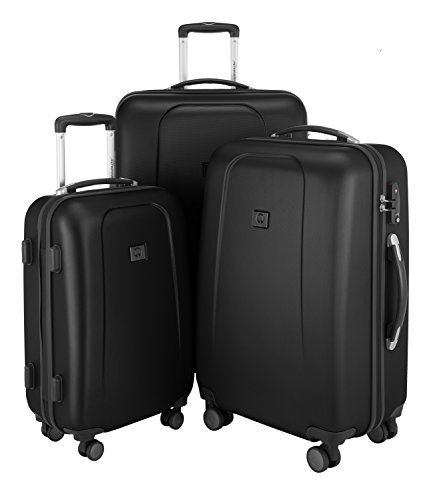 HAUPTSTADTKOFFER – Wedding - Set of 3 Hard-Side Luggages Trolley Hardside Hard Shell Suitcase Expandable, TSA, (55 cm, 65 cm & 75 cm), Black from Hauptstadtkoffer