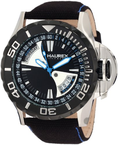 Haurex Italy Men's 8D365UNB Black Sea Day and Date Canvas Strap Black PVD Bezel Sport Watch from Haurex