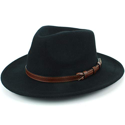 41431574285 Hawkins Wool Fedora Hat with Faux Leather Band - Black (59cm) from Hawkins