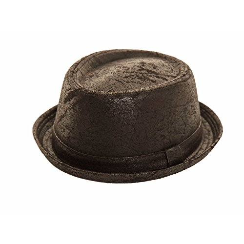 06efbf07a5e Hats   Caps. Unisex Porkpie trilby hat black cracked leather worn vintage  look NEW (M L(. found at Amazon Marketplace