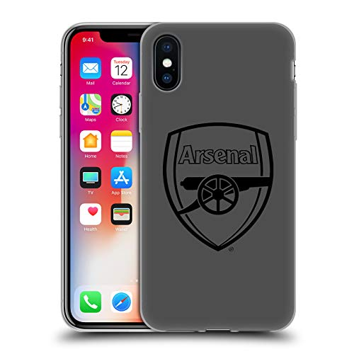 Official Arsenal FC Black Logo Crest 2 Soft Gel Case Compatible for Apple iPhone X/iPhone XS from Head Case Designs