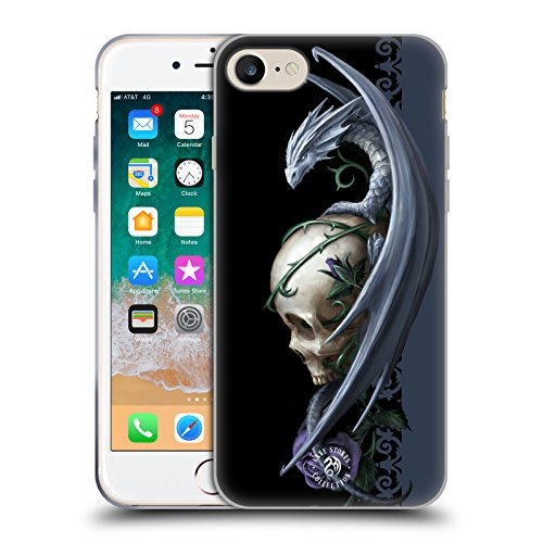 Official Anne Stokes Skull And Rose Dragons 2 Soft Gel Case Compatible for Apple iPhone 7 / iPhone 8 / iPhone SE 2020 from Head Case Designs