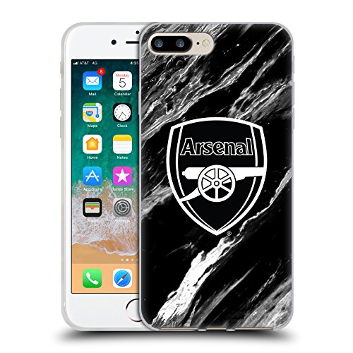 Official Arsenal FC Marble 2017/18 Crest Patterns Soft Gel Case for iPhone 7 Plus/iPhone 8 Plus from Head Case Designs
