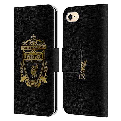 Official Liverpool Football Club Black 2 Crest 2 PU Leather Book Wallet Case Cover Compatible For Apple iPhone 7 / iPhone 8 / iPhone SE 2020 from Head Case Designs