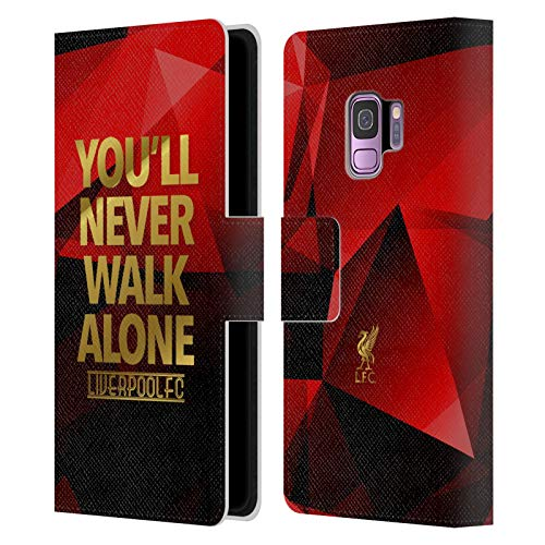 Official Liverpool Football Club Red Geo Ynwa Plain Liver Bird Ynwa PU Leather Book Wallet Case Cover Compatible For Samsung Galaxy S9 from Head Case Designs