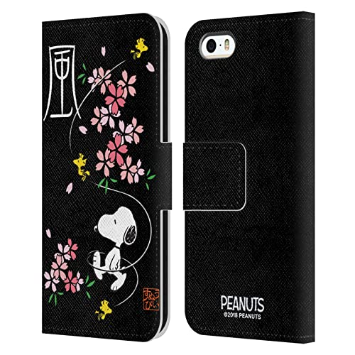 Official Peanuts Cherry Blossoms Oriental Snoopy Leather Book Wallet Case Cover Compatible For Apple iPhone 5 / iPhone 5s / iPhone SE 2016 from Head Case Designs