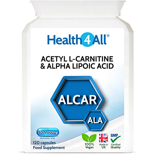 Acetyl L-Carnitine 250mg & Alpha Lipoic Acid 200mg 120 Capsules (V) Vegan ALCAR ALA Capsules. Made by Health4All from Health4All