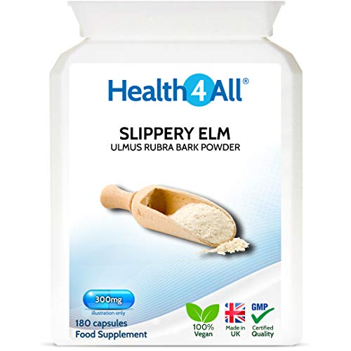 Slippery Elm 300mg 180 Capsules (V) Digestive Health. Acid Reflux Support. Vegan. Made by Health4All from Health4All