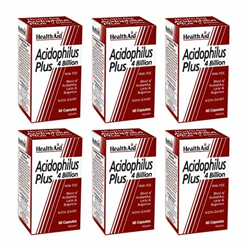HealthAid Acidophilus Plus 4 Billion Pack of 6 x 60 Capsules (360 Capsules) from HealthAid