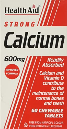 HealthAid Calcium 600mg - Chewable - 60 Vegetarian Tablets from HealthAid