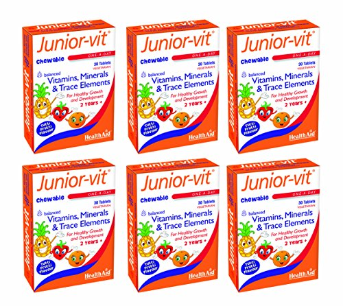 HealthAid Junior-Vit Chewable Multivitamins Pack of 6 x 30 Vegetarian Tablets (180 Tablets) from HealthAid
