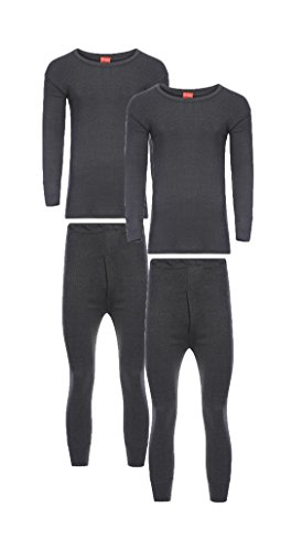 Heatwave® Pack of 2 Men's Extreme Thermal Underwear Set, Long Sleeve Top & Long Johns Set, Winter Thermals, Small Charcoal from Heatwave Thermalwear