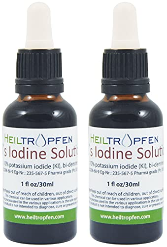 5% Lugol's Iodine Solution, Twin Pack (Two bot.), 2X 1Oz, Pharmaceutical Grade, Made with 5 Percent Iodine and 10% Potassium Iodide ... from Heiltropfen