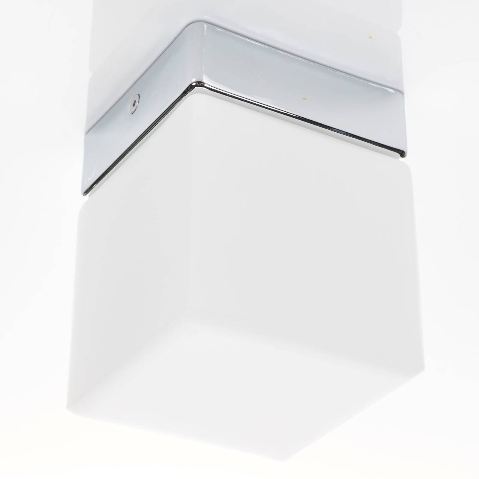 Cube-shaped LED bathroom ceiling light Keto from Helestra