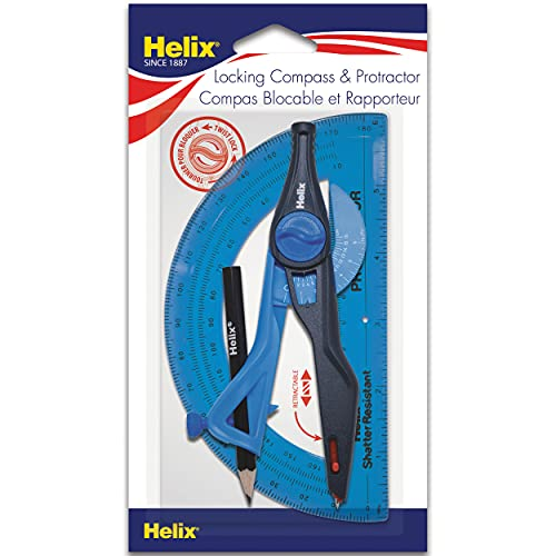 Helix Plastic Compass and Protractor Set, Color May Vary, Assorted Colors (18803) from Maped