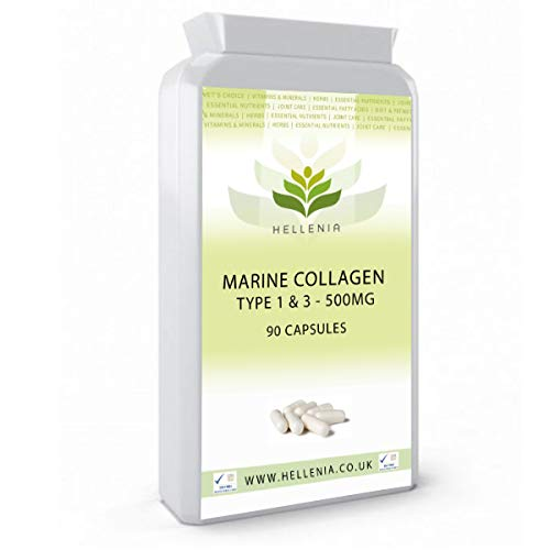 Hellenia Collagen (Marine) 500mg - 180 Tablets - for Healthy Hair, Skin and Nails from Hellenia