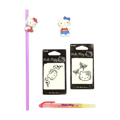 Hello Kitty Set 5 pcs -. Kitty Cool in jeans, tattoos, straw, highlighters from Hello Kitty