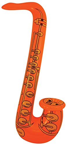 1 x Fancy Dress Party Inflatable 75cm Coloured Jazz Saxaphone Orange from HENBRANDT