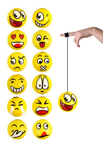Henbrandt 12 x Return Balls on String with Facial Expressions - Party Bag Fillers from HENBRANDT