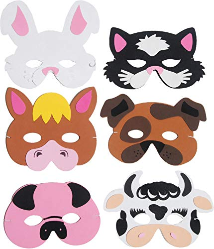 6 Farm Animal Foam Masks Fancy Dress Accessories Kids Nativity Party Bag from HENBRANDT