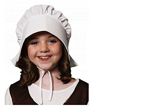 HENBRANDT Girls Kids Children Tudor Victorian White Bonnet Hat Fancy Dress Accessory from Henbrandt