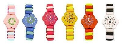 Wooden Bracelet Watch x 6 assorted designs party bag filler from Henbrandt