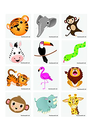 Henbrandt 12 jungle animal temperary transfer tattoos from HENBRANDT