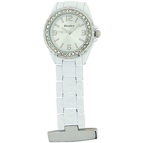 Henley Nurses/Doctors Diamante Crystal Pocket Fob Watch White HF01.4 from Henley