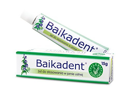BAIKADENT - 15 G -gel - is a gel for application to gums in case of periodontal diseases. Indications for application: in supportive treatment of superficial and deep periodontopathies in prophylaxis of periodontal diseases in chronic inflammatory states of mouth mucosa (also those caused by dentures) from Herbapol