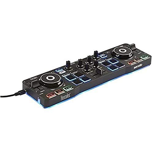 Hercules DJControl Starlight - Portable USB DJ Controller - 2 tracks with 8 pads and sound card - Serato DJ Lite included from Hercules