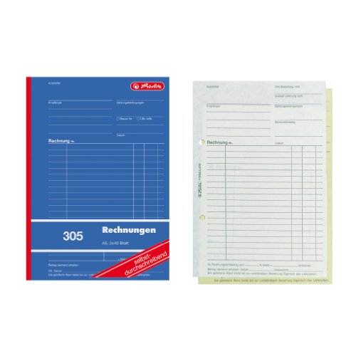 Herlitz 1932862 Accounts Book A5, 305 2 x 40 Sheets, Carbonless Copying, Pack of 4 from herlitz