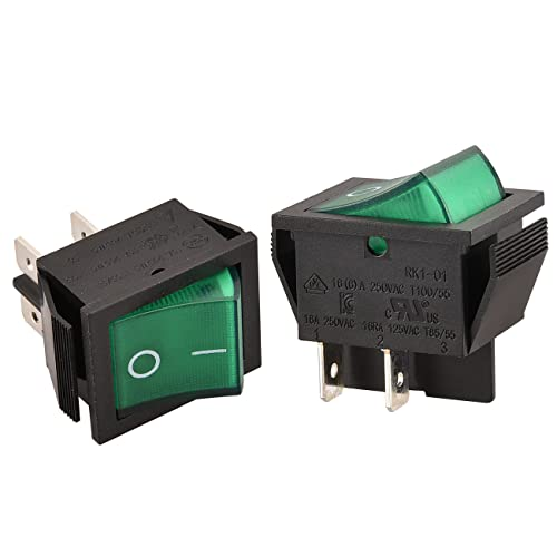 Heschen Rocker Switch ON-OFF DPST 4 Terminals Green light 16A 250VAC 2Pack from Heschen