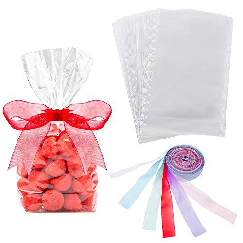 50 Counts 15 x 25 cm Clear Flat Cello Cellophane Treat Bags Cellophane Block Bottom Storage Bags Sweet/Party/Gift/Home Bags with Colorful Bag Ties (Style C) from Hestya