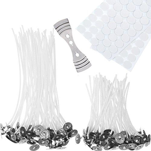 Candle Making Kit, 100 Pieces Pre-Waxed Candle Wicks with 100 Pieces Double-Sided Dots Wick Stickers and 1 Piece Wick Holder Sustainer for DIY Candles (10 cm and 15 cm) from Hestya