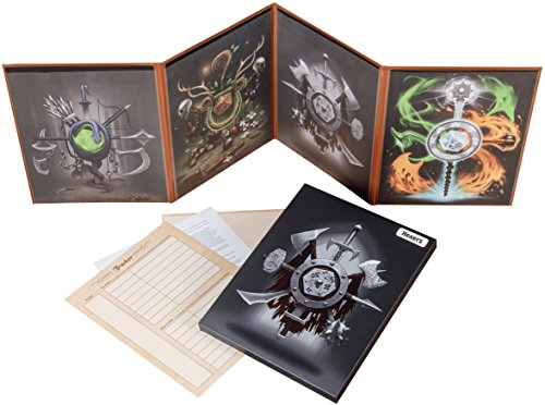 Hexers Game Master Screen - Dungeons and Dragons D&D DND DM Pathfinder RPG Role Playing Compatible - 4 Customizable Panels - Inserts Included That Slide into The Pouches - Dry Erase Tracker Sheet from Hexers
