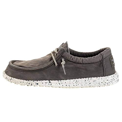 050e05410f84 HEY DUDE WALLY WASHED CANVAS CASUAL SHOES Grey 10 from Hey Dude