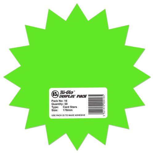 Hi-Glo 178mm Fluorescent Cards Stars (Pack of 50) from Hi-Glo