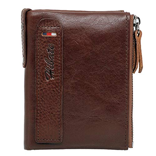 Hibate Men Leather Vertical Wallet RFID Blocking Men's Wallets Credit Card Holder Coin Pocket Purse - Deep_Brown from Hibate