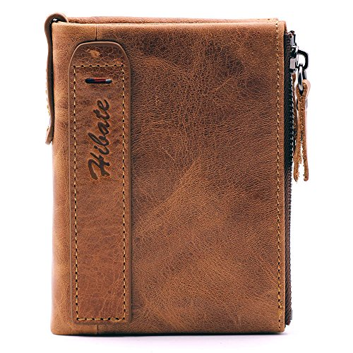 Hibate Men Leather Wallet RFID Blocking Men's Wallets Credit Card Holder Coin Pocket Purse, One_Size, A_brown from Hibate