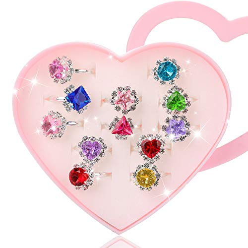 Hifot 12 pcs Girls Crystal Adjustable Rings, Princess Jewelry Finger Rings with Heart Shape Box, Girl Pretend Play and Dress up Rings for Children Kids Little Girls from Hifot