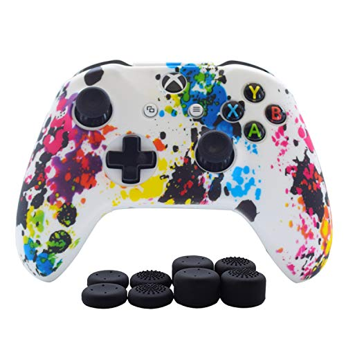 Hikfly Silicone Controller Cover Skin Protector Case Faceplates Kits for Xbox One/Xbox One S/Xbox One X Controller Video Games(1 x Cover with 8 x Thumb Grips Caps)(White Paints) from Hikfly