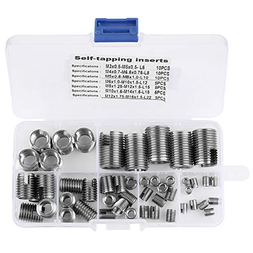 50Pcs 302 Stainless Steel Inner Thread Self Tapping Thread Inserts Set Thread Reinforce Repair Tool from Hilitand