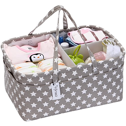 Hinwo Baby Diaper Caddy 3-Compartment Infant Nursery Tote Storage Bin Portable Car Organizer Newborn Shower Gift Basket with Detachable Divider and 10 Invisible Pockets for Diapers & Wipes (Grey Star) from Hinwo