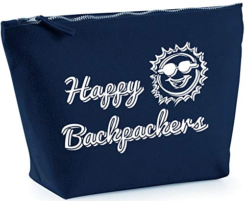 Hippowarehouse Happy Backpackers printed make up cosmetic wash bag 18x19x9cm from Hippowarehouse