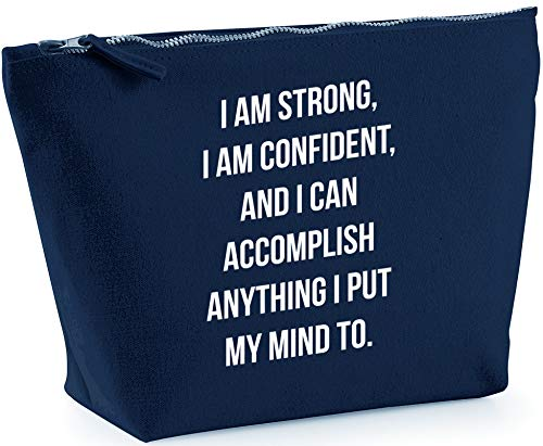 Hippowarehouse I Am Strong, I Am Confident, And I Can Accomplish Anything I Put My Mind To. printed make up cosmetic wash bag 18x19x9cm from Hippowarehouse