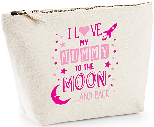 Hippowarehouse I Love My Mummy to the Moon and Back (Pink) printed make up cosmetic wash bag 18x19x9cm from Hippowarehouse