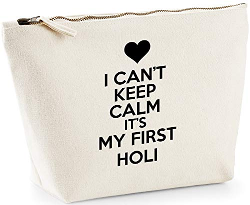 Hippowarehouse I can't keep calm it's my first holi printed make up cosmetic wash bag 18x19x9cm from Hippowarehouse