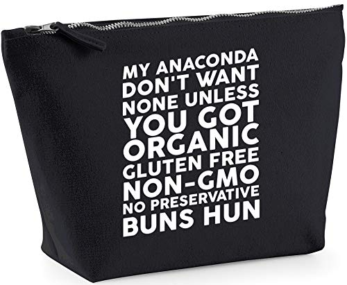Hippowarehouse My anaconda don't want none unless you got organic gluten free non-gmo no preservative buns hun printed make up cosmetic wash bag 18x19x9cm from Hippowarehouse