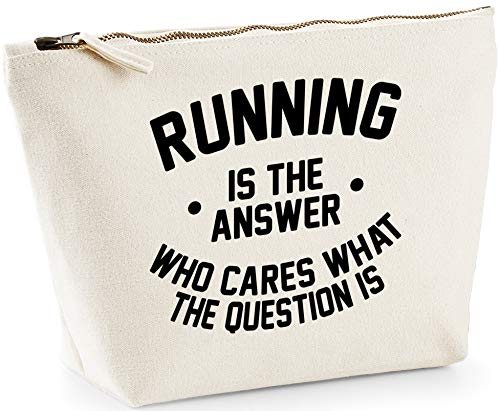Hippowarehouse Running is the Answer Who Cares What the Question Is printed make up cosmetic wash bag 18x19x9cm from Hippowarehouse